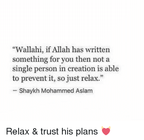 """creationism: """"Wallahi, if Allah has written  something for you then not a  single person in creation is able  to prevent it, so just relax.""""  Shaykh Mohammed Aslam Relax & trust his plans 💓"""