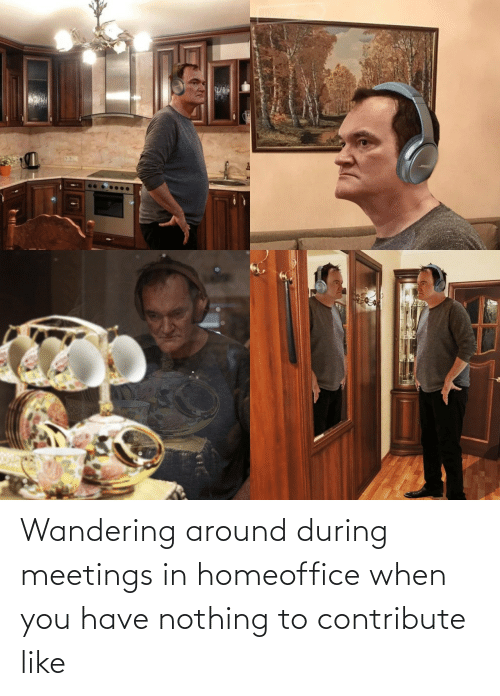 wandering: Wandering around during meetings in homeoffice when you have nothing to contribute like