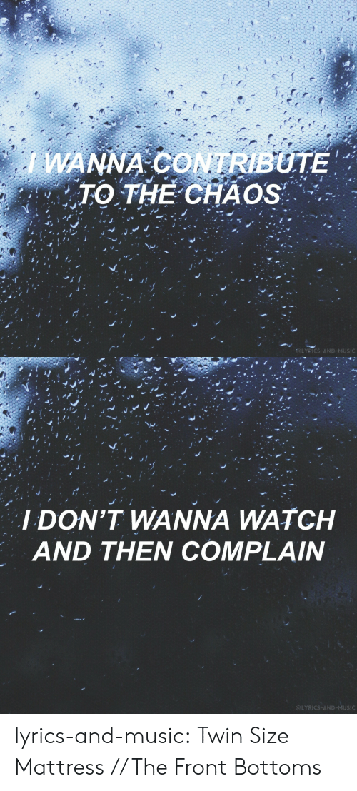 Music, Tumblr, and Blog: WANNA CONTRIBUTE  TO THE CHAOS  @LYRICS-AND-MUSIC   I DON'T WANNA WATCH  AND THEN COMPLAIN  @LYRICS-AND-MUSIC lyrics-and-music:  Twin Size Mattress // The Front Bottoms