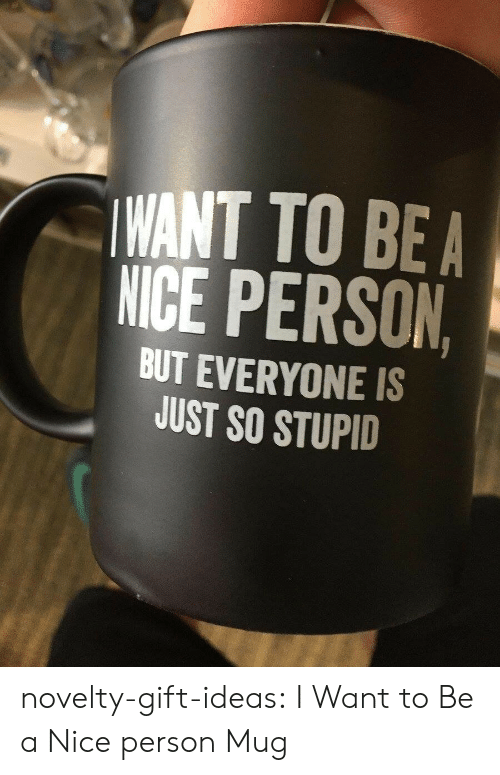 Nice Person: WANT TO BEA  NICE PERSON  BUT EVERYONE IS  JUST SO STUPID novelty-gift-ideas:  I Want to Be a Nice person Mug