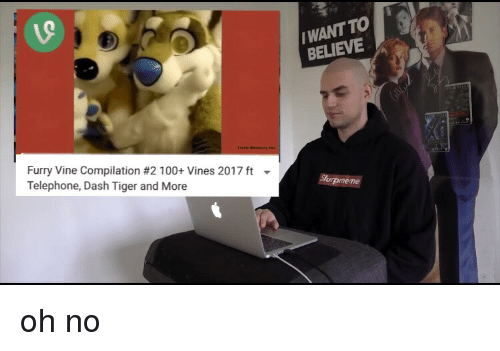 Vine Compilation: WANT TO  BELIEVE  Furry Vine Compilation #2100+ Vines 2017 ft  Telephone, Dash Tiger and More <p>oh no</p>