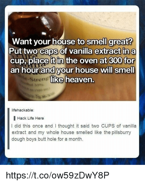 Lifehackable: Want your house to smell great?  Put two Caps of vanilla extract in a  cup, place it in the oven at 300 for  an hourand your house will smell  ike heaven.  Streng  lifehackable  I Hack Life Here  I did this once and I thought it said two CUPS of vanilla  extract and my whole house smelled like the pillsburry  dough boys butt hole for a month. https://t.co/ow59zDwY8P