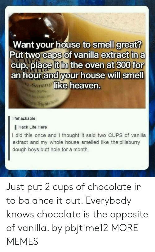 extract: Want your house to smell great?  Put two caps of vanilla extract in a  cup, place it in the oven at 300 for  an hour and your house will smell  ke heaven.  e-Stren  lifehackable:  I Hack Life Here  I did this once and thought it said two CUPS of vanila  extract and my whole house smelled like the pillsburry  dough boys butt hole for a month. Just put 2 cups of chocolate in to balance it out. Everybody knows chocolate is the opposite of vanilla. by pbjtime12 MORE MEMES