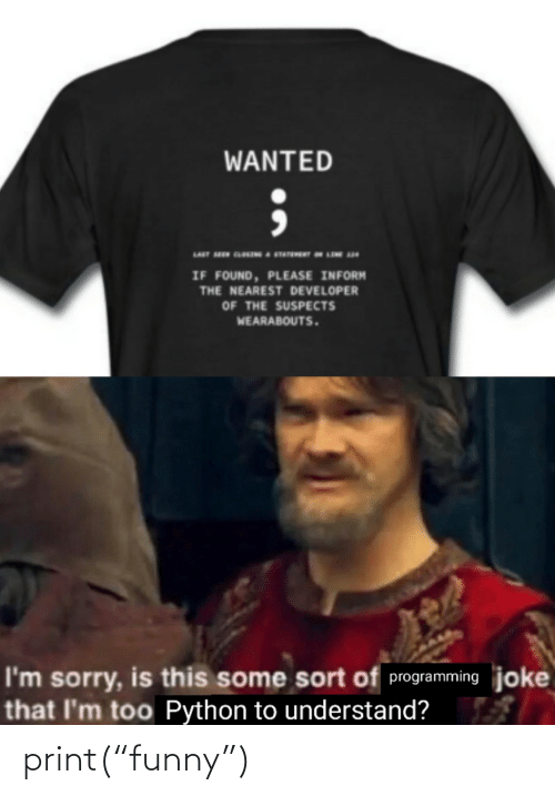 "Print: WANTED  IF FOUND, PLEASE INFORM  THE NEAREST DEVELOPER  OF THE SUSPECTS  WEARABOUTS.  I'm sorry, is this some sort of programming joke  that I'm too Python to understand? print(""funny"")"