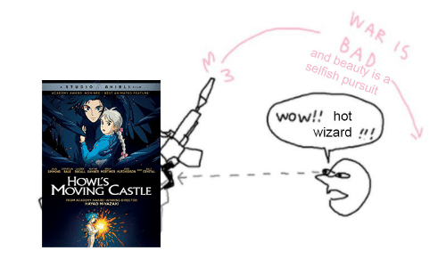 """Bad, Wow, and Castle: WAR  BAD  selfish pursuit  5  and beauty is a  3  wow!! hot  wizard!""""!  HOWL'S  MOVING CASTLE  WINNING DIRECTOR  OMMAHAYAO MIYAZAK"""
