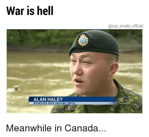 Memes, Pop, and Canada: War is hell  @pop_smoke official  ALAN HALEY  EW  ITNESSED DUCK FIGHTING TURTLE  WINNI Meanwhile in Canada...