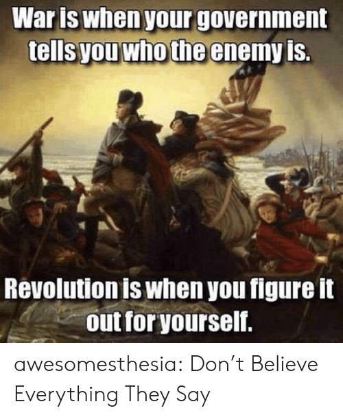 Dont Believe: Waris when your government  tells you who the enemy is.  Revolution is when you figure it  out for yourself. awesomesthesia:  Don't Believe Everything They Say