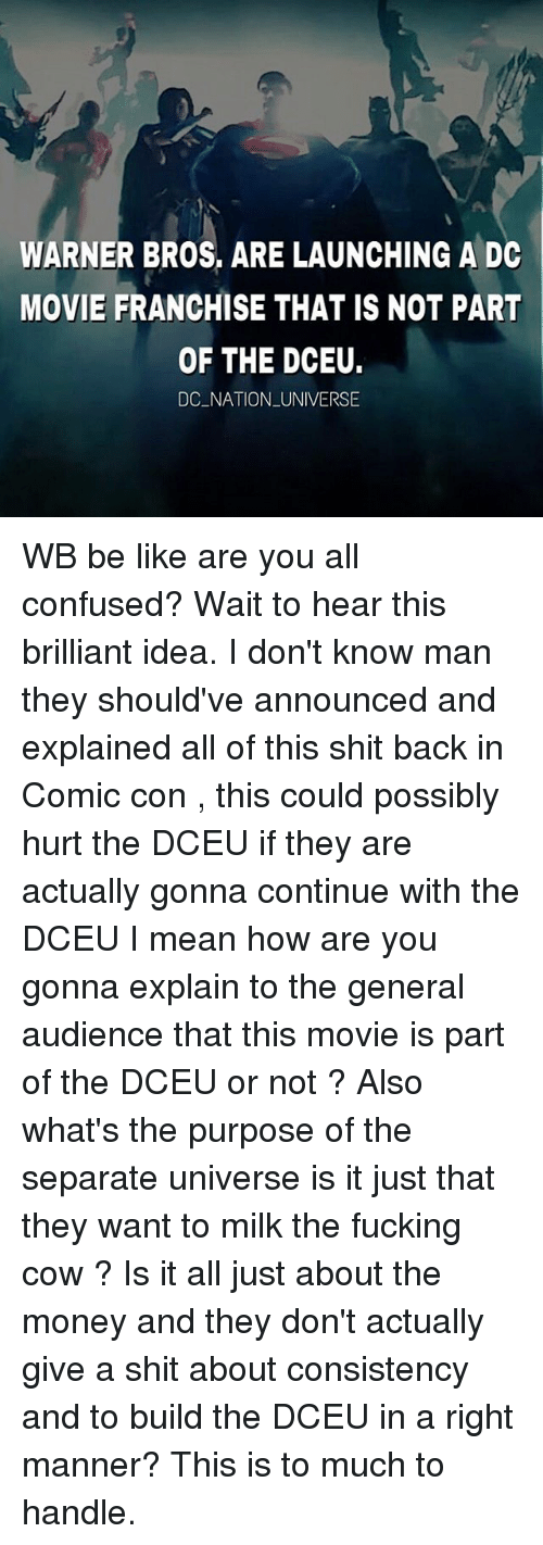 mannerism: WARNER BROS, ARE LAUNCHING A DC  MOVIE FRANCHISE THAT IS NOT PART  OF THE DCEU.  DC NATION UNIVERSE WB be like are you all confused? Wait to hear this brilliant idea. I don't know man they should've announced and explained all of this shit back in Comic con , this could possibly hurt the DCEU if they are actually gonna continue with the DCEU I mean how are you gonna explain to the general audience that this movie is part of the DCEU or not ? Also what's the purpose of the separate universe is it just that they want to milk the fucking cow ? Is it all just about the money and they don't actually give a shit about consistency and to build the DCEU in a right manner? This is to much to handle.