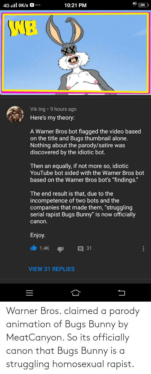 homosexual: Warner Bros. claimed a parody animation of Bugs Bunny by MeatCanyon. So its officially canon that Bugs Bunny is a struggling homosexual rapist.