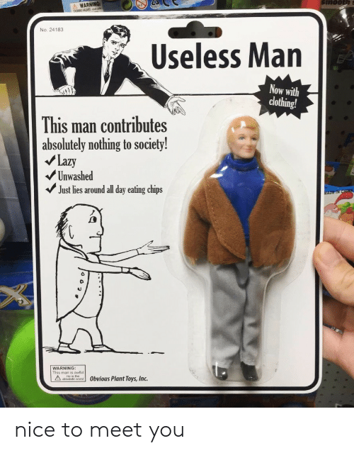 Eating Chips: WARNING  boNG HAZARDd  No. 24183  Useless Man  Now with  clothing!  This man contributes  absolutely nothing to society!  Lazy  Unwashed  Just lies around all day eating chips  ADETN  WARNING:  wfu  AHe is the  Obvious Plant Toys, Inc. nice to meet you