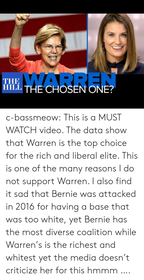 Bernie: WARREN  THE  ITHE CHOSEN ONE? c-bassmeow:  This is a MUST WATCH video. The data show that Warren is the top choice for the rich and liberal elite. This is one of the many reasons I do not support Warren. I also find it sad that Bernie was attacked in 2016 for having a base that was too white, yet Bernie has the most diverse coalition while Warren's is the richest and whitest yet the media doesn't criticize her for this hmmm ….