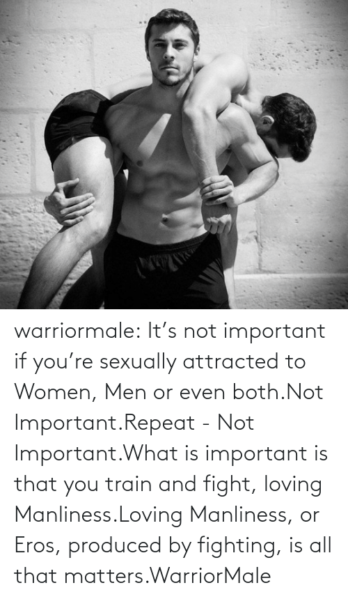 men: warriormale:  It's not important if you're sexually attracted to Women, Men or even both.Not Important.Repeat - Not Important.What is important is that you train and fight, loving Manliness.Loving Manliness, or Eros, produced by fighting, is all that matters.WarriorMale