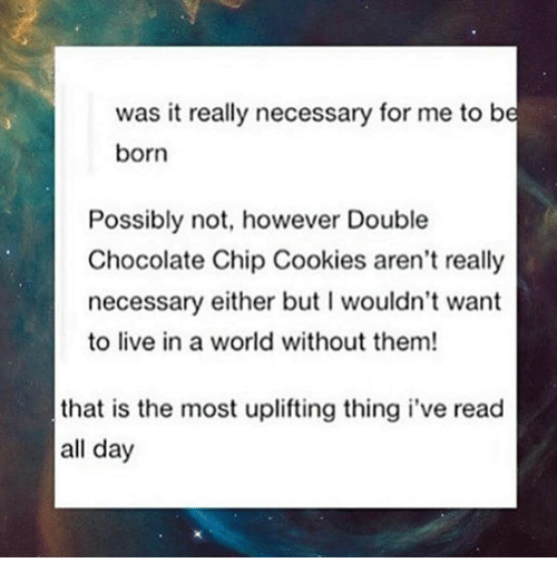 Cookiness: was it really necessary for me to be  born  Possibly not, however Double  Chocolate Chip Cookies aren't really  necessary either but l wouldn't want  to live in a world without them!  that is the most uplifting thing i've read  all day