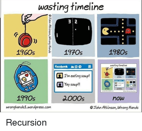 Facebook, Wordpress, and Com: wasting timeline  2  1960s  197Os  1980s  facebook  wasting timeline  Tm eating soup!  Yay soup!!  18c0s  1990s  200Os  now  wronghands1.wordpress.com  Tohn Atkinson, Wrong Hands Recursion