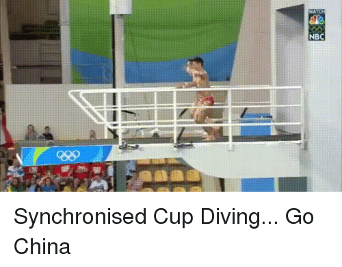 Funny, China, and Nbc: WATC  NBC Synchronised Cup Diving... Go China