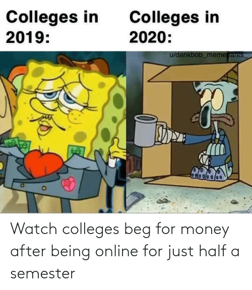 Being: Watch colleges beg for money after being online for just half a semester