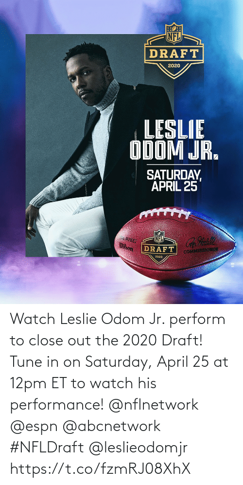 Leslie: Watch Leslie Odom Jr. perform to close out the 2020 Draft! Tune in on Saturday, April 25 at 12pm ET to watch his performance! @nflnetwork @espn @abcnetwork #NFLDraft @leslieodomjr https://t.co/fzmRJ08XhX