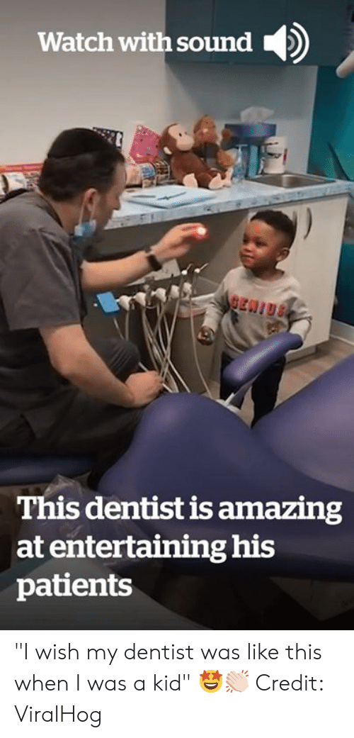 "dentist: Watch with sound  BEN!US  This dentist is amazing  at entertaining his  patients ""I wish my dentist was like this when I was a kid"" 🤩👏🏻  Credit: ViralHog"