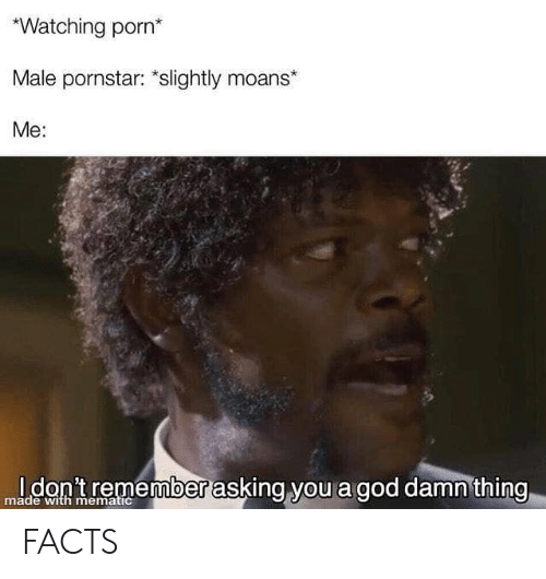Facts, God, and Porn: Watching porn*  Male pornstar: slightly moans*  Me:  mldon tremember asking you a god damn thing  0  made with mematic FACTS
