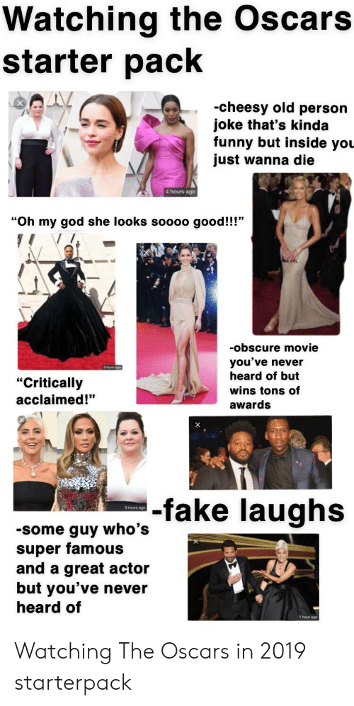 Watching the Oscars Starter Pack -Cheesy Old Persorn Joke