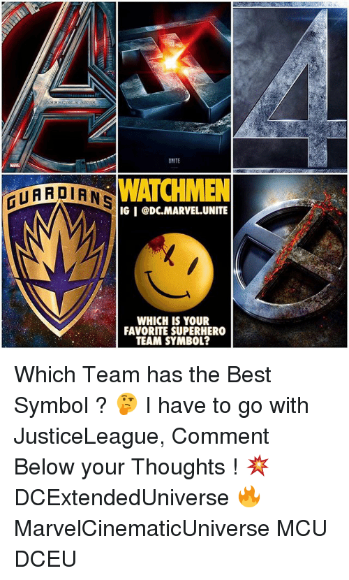 Memes, Superhero, and Best: WATCHMEN  ATARDIANS  IGI CDC MARVEL UNITE  WHICH IS YOUR  FAVORITE SUPERHERO  TEAM SYMBOL? Which Team has the Best Symbol ? 🤔 I have to go with JusticeLeague, Comment Below your Thoughts ! 💥 DCExtendedUniverse 🔥 MarvelCinematicUniverse MCU DCEU