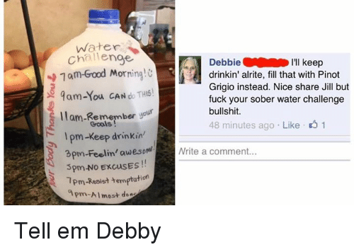 apm: Water  challenge  Debbie  I'll keep  1am Good Morning!  drinkin' alrite, fill that with Pinot  Grigio instead. Nice share Jill but  9am You CAN THIS!  fuck your sober water challenge  bullshit.  llam Remember  your  48 minutes ago Like 1  Gools  pm-Keep drinkin'  3pm-Feelin' awesom Nrite a comment...  5pm.No ExcusES  1pm-Resist temptat  apm-Almost derz Tell em Debby