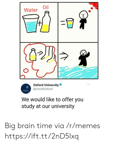 Memes, Brain, and Time: Water Oil  Oxford University  @UniofOxford  OXFORD  We would like to offer you  study at our university Big brain time via /r/memes https://ift.tt/2nD5Ixq