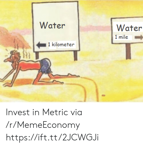Water, Invest, and Metric: Water  Water  1 mile  1 kilometer Invest in Metric via /r/MemeEconomy https://ift.tt/2JCWGJi