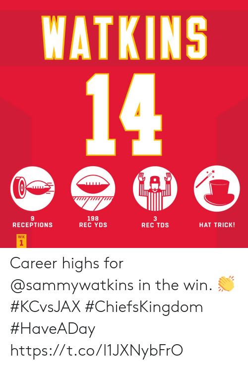Memes, 🤖, and Rec: WATKINS  14  C  A  198  REC YDS  3  REC TDS  HAT TRICK!  RECEPTIONS  WK  1 Career highs for @sammywatkins in the win. 👏#KCvsJAX #ChiefsKingdom #HaveADay https://t.co/l1JXNybFrO