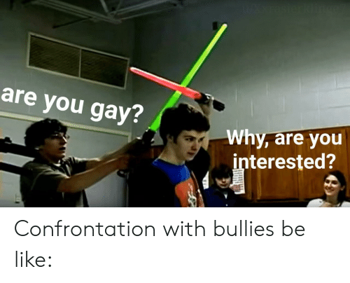 confrontation: WAxrasierklin  are you gay?  Why, are you  interested? Confrontation with bullies be like: