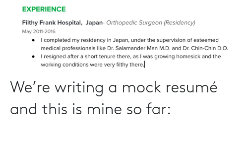 Resume: We're writing a mock resumé and this is mine so far: