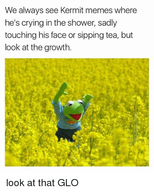 sipping tea: We always see Kermit memes where  he's crying in the shower, sadly  touching his face or sipping tea, but  look at the growth look at that GLO