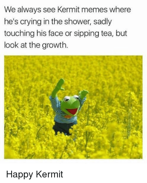 sipping tea: We always see Kermit memes where  he's crying in the shower, sadly  touching his face or sipping tea, but  look at the growth Happy Kermit