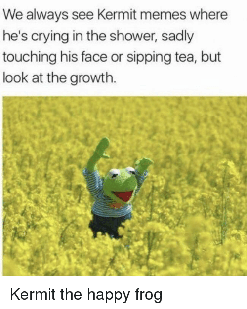 sipping tea: We always see Kermit memes where  he's crying in the shower, sadly  touching his face or sipping tea, but  look at the growth. Kermit the happy frog