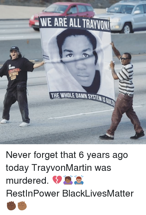 Black Lives Matter, Memes, and Today: WE ARE ALL TRAYVON  THE WHOLE DAMN SYSTEMS Never forget that 6 years ago today TrayvonMartin was murdered. 💔🙇🏾♀️🙇🏽♂️ RestInPower BlackLivesMatter ✊🏿✊🏾