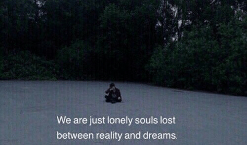 Lost, Dreams, and Reality: We are just lonely souls lost  between reality and dreams