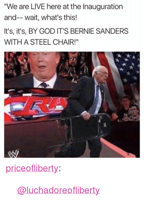 """steel chair: """"We are LIVE here at the Inauguration  and-- wait, what's this!  It's, it's, BY GOD IT'S BERNIE SANDERS  WITH A STEEL CHAIR!"""" <p><a href=""""https://priceofliberty.tumblr.com/post/156126277898/luchadoreofliberty"""" class=""""tumblr_blog"""">priceofliberty</a>:</p> <blockquote><p><a class=""""tumblelog"""" href=""""https://tmblr.co/mOwpPzD7ytpfOhnWdpL-ydw"""">@luchadoreofliberty</a></p></blockquote>"""