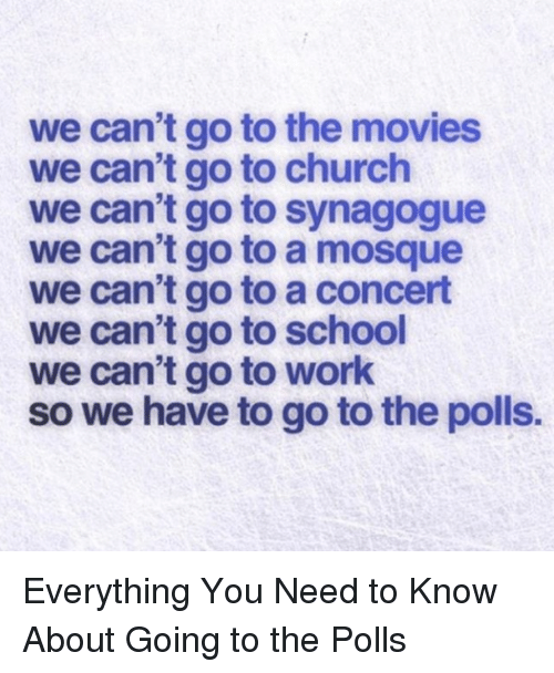 Church, Movies, and School: we can't go to the movies  we can't go to church  we can't go to synagogue  we can't go to a mosque  we can't go to a concert  we can't go to school  we can't go to work  so we have to go to the polls. Everything You Need to Know About Going to the Polls