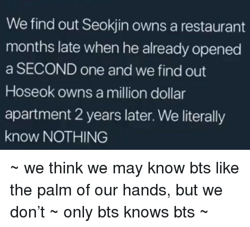 the palm: We find out Seokjin owns a restaurant  months late when he already opened  a SECOND one and we find out  Hoseok owns a million dollar  apartment 2 years later. We literally  know NOTHING ~ we think we may know bts like the palm of our hands, but we don't ~ only bts knows bts ~