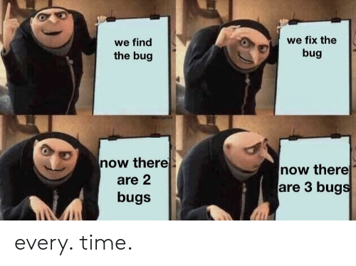 Time, Bug, and Now: we fix the  we find  bug  the bug  now there  now there  are 3 bugs  are 2  bugs every. time.