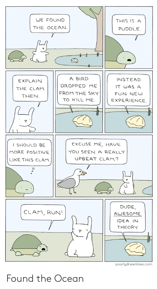 Dude, Run, and Ocean: WE FOUND  THIS IS A  THE OCEAN.  PUDDLE.  A BIRD  INSTEAD  EXPLAIN  DROPPED ME  IT WAS A  THE CLAM  FROM THE SKY  FUN NE W  THEN.  TO KILL ME.  EXPERIENCE.  EXCUSE ME, HAVE  SHOULD BE  YOU SEEN A REALLY  MORE POSITIVE  UPBEAT CLAM?  LIKE THIS CLAM.  DUDE  CLAM, RUN!  AWESOME  IDEA IN  THEORY  poorlydrawnlines.com Found the Ocean