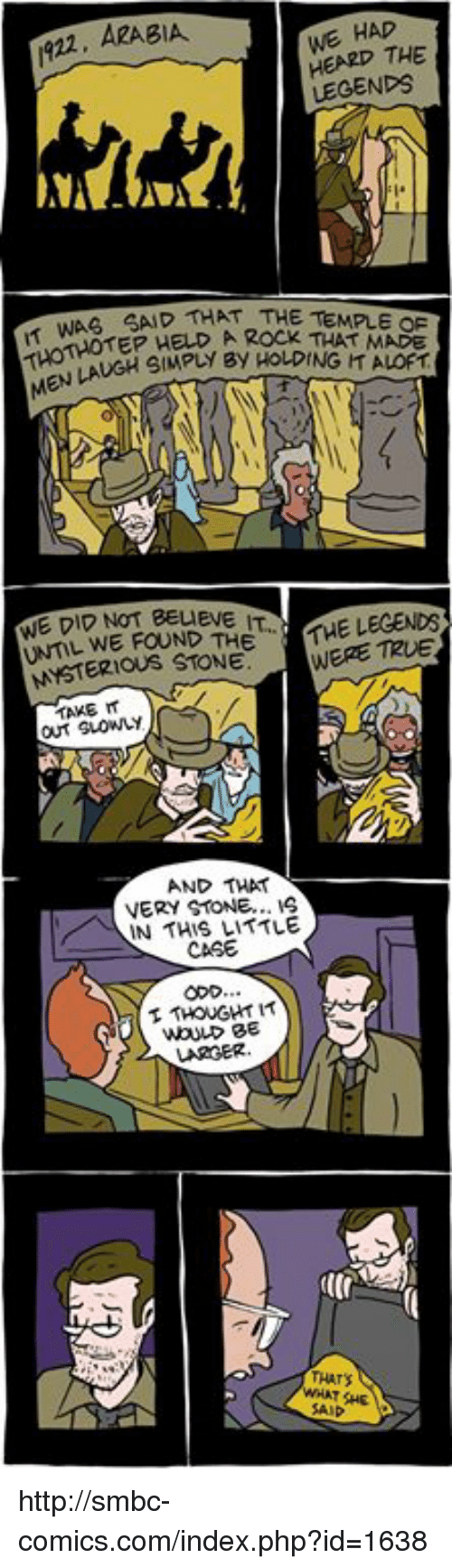 Smbc Comic: WE HAD  1922, ARABIA.  THE  LEGENDS  WAS SAD THAT THE TEMPLE HELD, A Rock MADE  WE DID NOT BEUEVE  THE LEGENDS  FOUND THE  MYSTERIOUS STONE.  WERE out Guowy  AND THAT  VERY STONE...  IN THIS LITTLE  CASE  THOUGHT IT http://smbc-comics.com/index.php?id=1638