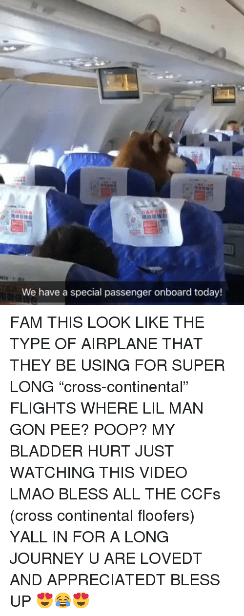 "Bless up: We have a special passenger onboard today! FAM THIS LOOK LIKE THE TYPE OF AIRPLANE THAT THEY BE USING FOR SUPER LONG ""cross-continental"" FLIGHTS WHERE LIL MAN GON PEE? POOP? MY BLADDER HURT JUST WATCHING THIS VIDEO LMAO BLESS ALL THE CCFs (cross continental floofers) YALL IN FOR A LONG JOURNEY U ARE LOVEDT AND APPRECIATEDT BLESS UP 😍😂😍"