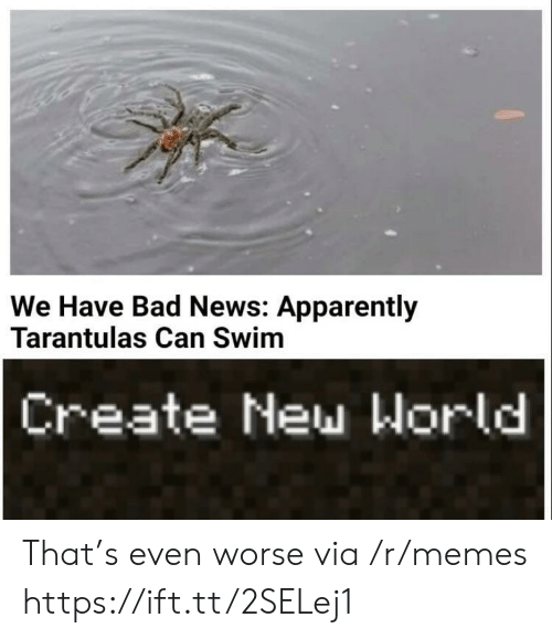 apparently: We Have Bad News: Apparently  Tarantulas Can Swim  Create New World That's even worse via /r/memes https://ift.tt/2SELej1