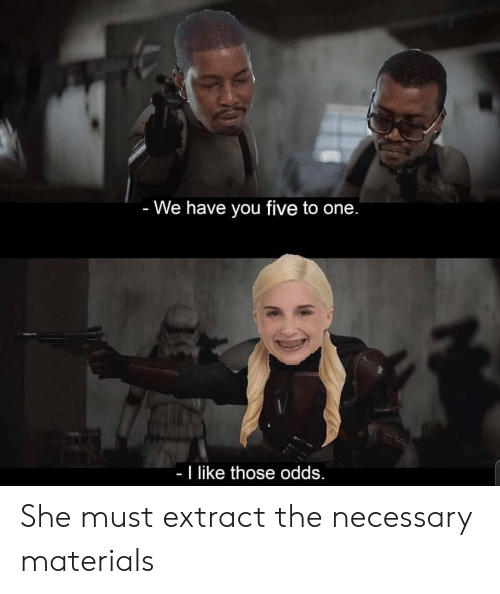 The Necessary: - We have you five to one.  - I like those odds. She must extract the necessary materials
