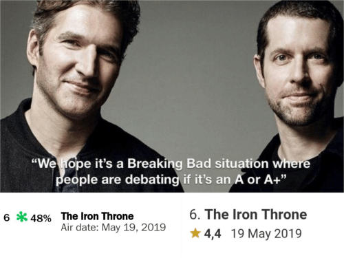 "Bad, Breaking Bad, and Date: ""We hope it's a Breaking Bad situatión where  eople are debating if it's an A or A+""  6. The Iron Throne  6*48% The Iron Throne  Air date: May 19, 2019  4,4 19 May 2019"