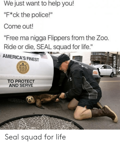 """Protect And Serve: We just want to help you!  """"F*ck the police!""""  Come out!  """"Free ma nigga Flippers from the Zoo.  Ride or die, SEAL squad for life.""""  AMERICA'S FINEST  TO PROTECT  AND SERVE Seal squad for life"""