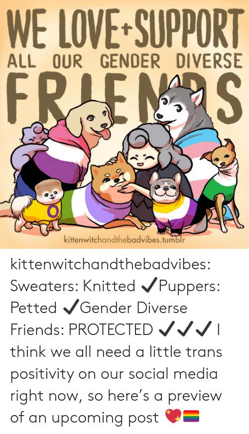 Love Support: WE LOVE-SUPPORT  ALL OUR GENDER DIVERSE  kittenwitchandthebadvibes.tumblr kittenwitchandthebadvibes: Sweaters: Knitted ✔Puppers: Petted ✔Gender Diverse Friends: PROTECTED ✔✔✔  I think we all need a little trans positivity on our social media right now, so here's a preview of an upcoming post 💖🏳️🌈