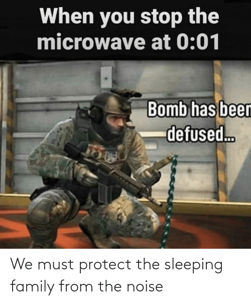 Must Protect: We must protect the sleeping family from the noise
