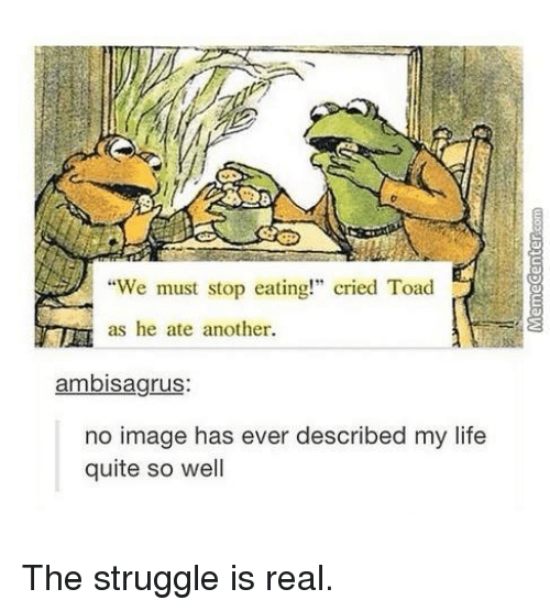 "We Must Stop Eating Cried Toad As He Ate Another: ""We must stop eating!"" cried Toad  as he ate another.  ambisagrus:  no image has ever described my life  quite so well The struggle is real."